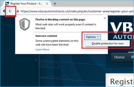 Firefox blocked content